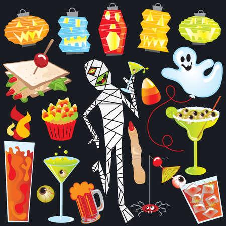 halloween party: Halloween Party illustraties met vinger sandwich en griezelig cocktails