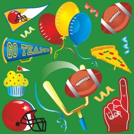 futbol infantil: Football Fun elementos aislados en verde. Vectores