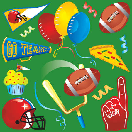 Fun football elements isolated on green.  Vector