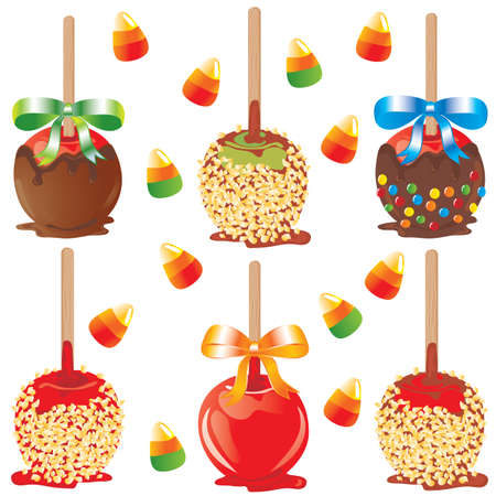 Candy apple treats Vector