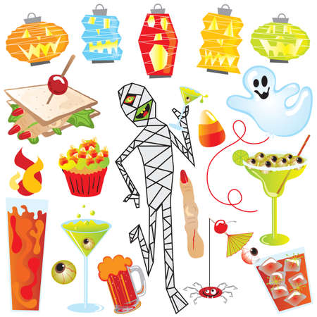 halloween eyeball: Halloween Party Clip Art with finger sandwich and creepy cocktails
