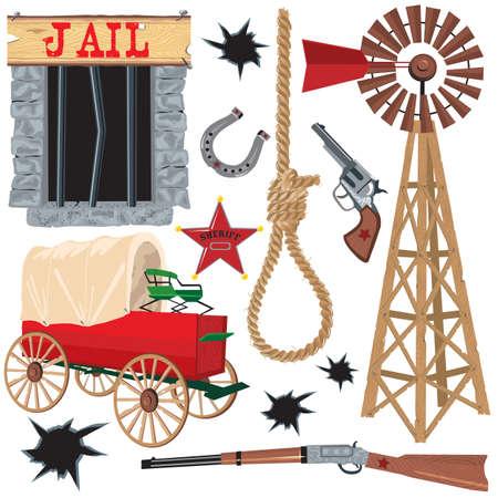 Icone Old Wild West, isolato su bianco
