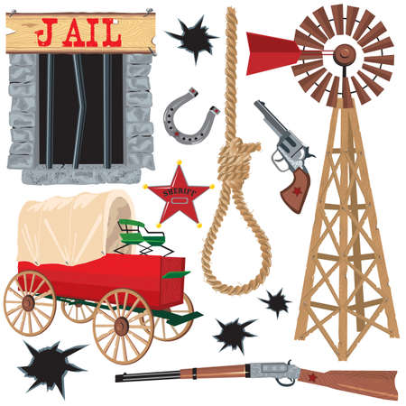 Old wild west icons, isolated on white