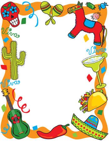 mexican sombrero: Invito di festa messicana Fiesta  Vettoriali