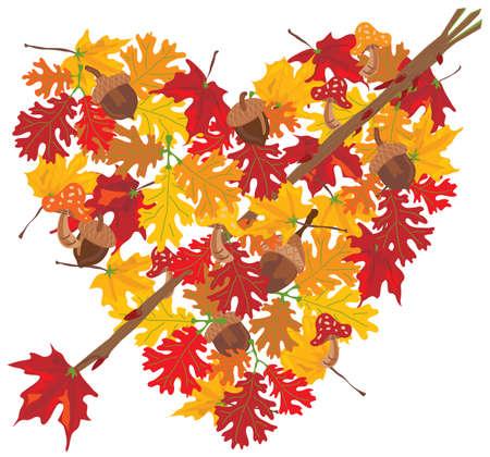 Autumn Heart with arrow Vector