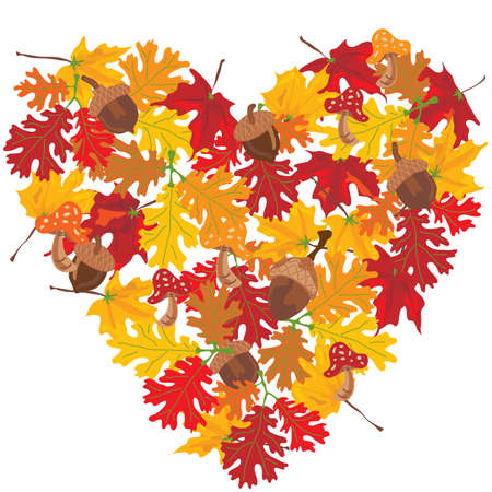 Autumn leaves heart Vector