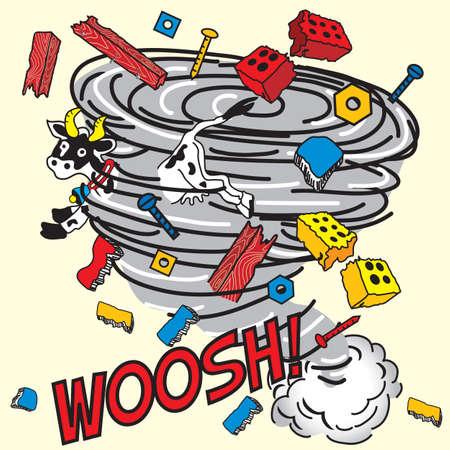 Strip boek geïnspireerd Tornado!  Stock Illustratie