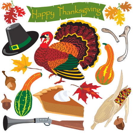 Thanksgiving clipart icons and elements for autumn