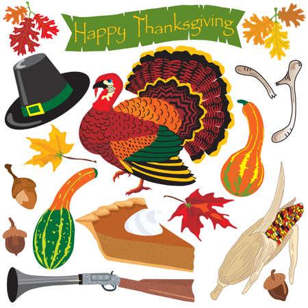 p�lerin: Thanksgiving ic�nes clipart et �l�ments pour l'automne Illustration
