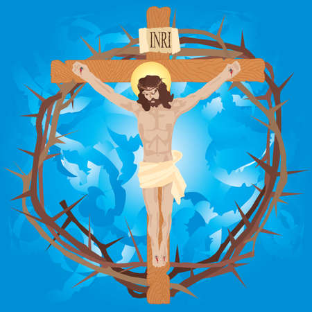 Jesus nailed to the cross with crown of thorns. Vector