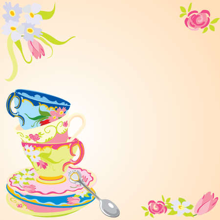 Tea party invitation. Illustration