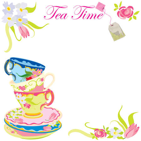 Tea time party invitation Vector