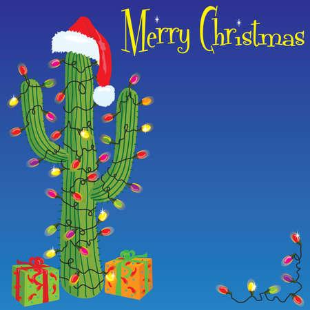 christmas lights: Cactus avvolto con luci di Natale  Vettoriali