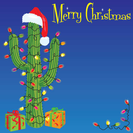 Cactus envuelto con luces de Navidad
