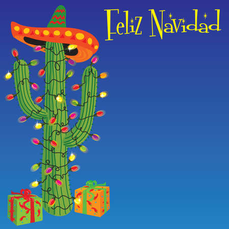 Cactus wrapped with christmas lights with gifts and sombrero