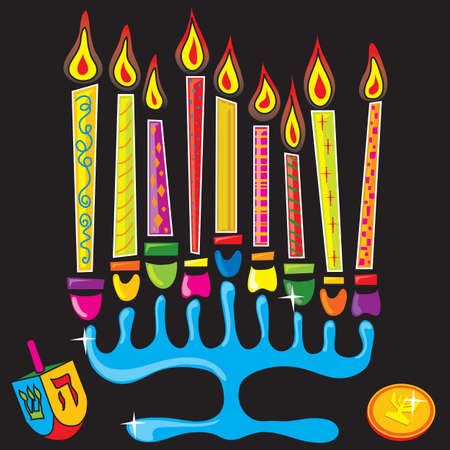 Menorah surrounded by fun and colorful dreidel and gelt