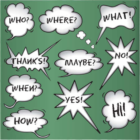 of what: Comic book speech bubbles on chalkboard background Illustration