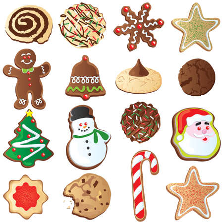 Big set of Cute Christmas cookies isolated on white Vector