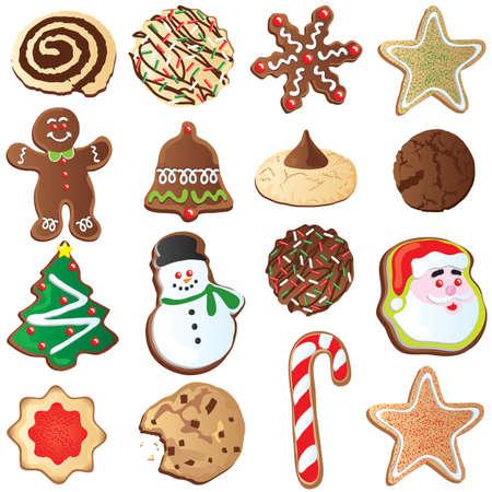 christmas cookies: Groot aantal leuk kerst cookies geïsoleerd op wit Stock Illustratie