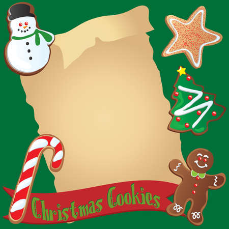 Cute Christmas cookies surround an invitation or your recipe Vector