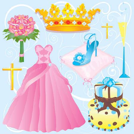 Quinceanera images clipart ou invitation pour votre parti. Banque d'images - 5955074