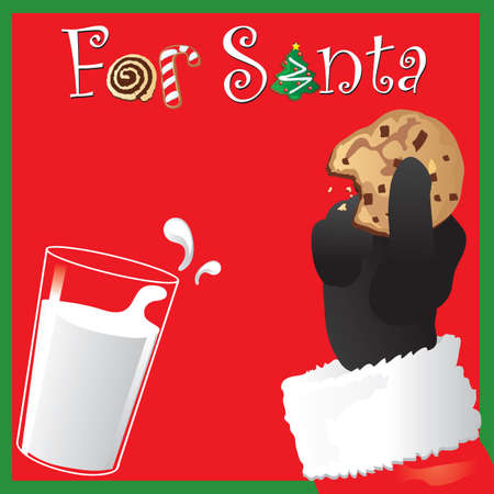 Santa holds a chocolate chip cookie with a glass of milk Vector