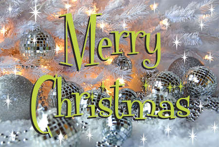 Merry Christmas card with silver disco ornaments Stock Photo - 6026439