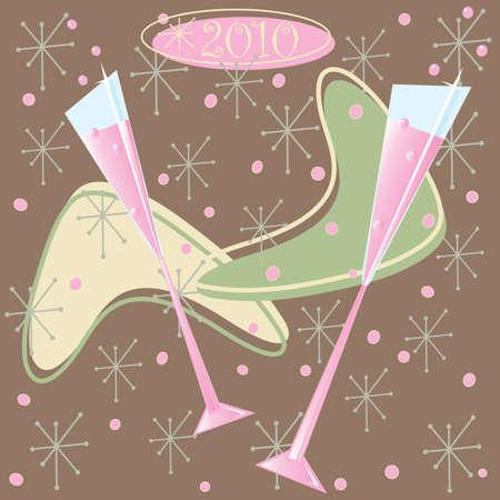Feliz Toast Champagne Retro de 2010