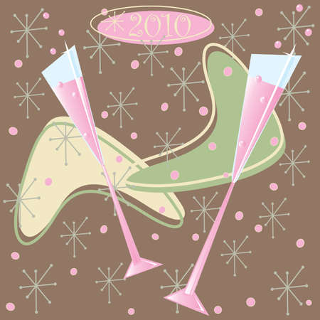 Happy 2010 Retro Champagne Toast Illustration