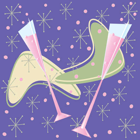 Fun reflector roze Champagne Toast Stock Illustratie