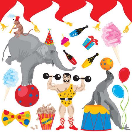 animales de circo: Elementos de arte del clip de parte de cumplea�os de circo aislados en blanco