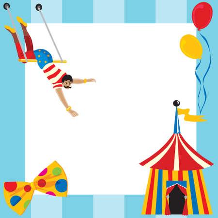 Lindo invitación de partido con temática de circo con espacio para escribir