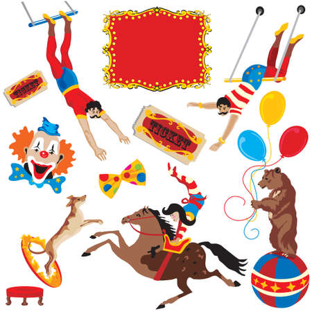 Circus performing acts isolated on white Vector