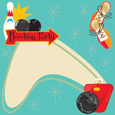white party: Bowling partij uitnodiging met ruimte voor type Stock Illustratie