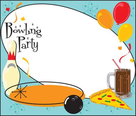 bolos: Ni�os o adultos cumplea�os de Bowling partido o equipo partido invitaci�n