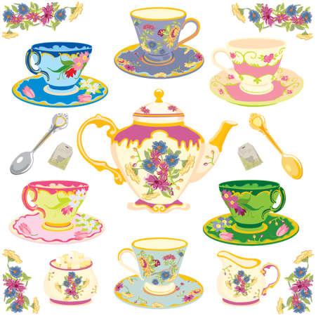 Selecci�n de fantas�a teacups, aislados en blanco