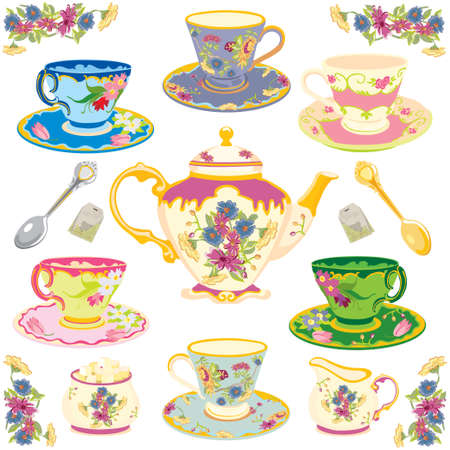 high tea: Selection of fancy teacups , isolated on white