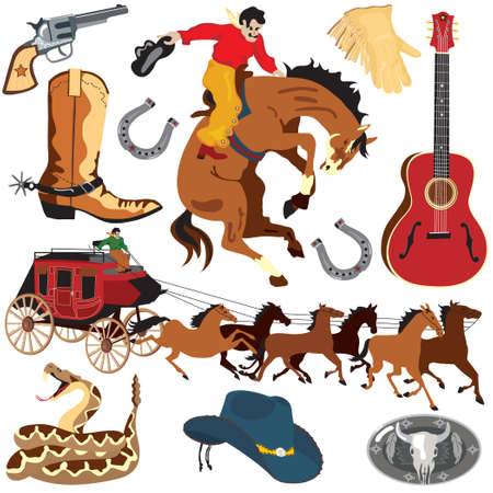 bucking horse: Wild West Clipart icons