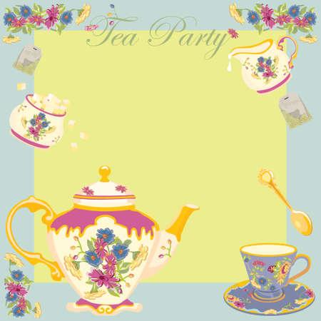 Tea Party of Garden partij uitnodiging Stock Illustratie