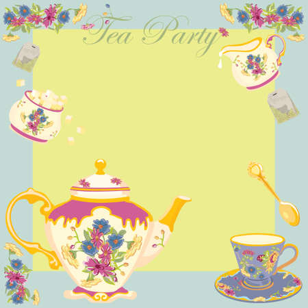 Tea Party or Garden Party Invitation Illusztráció