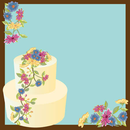 Pretty floral cake invitation for your garden, wedding, shower or birthday party. Vector