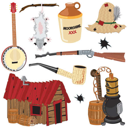 Hillbilly clipart icons and elements Stock Vector - 6560388
