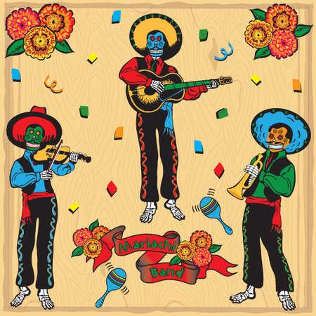 mariachi: Kleurrijke Day of the Dead Mariachi Band met span doek en bloemen op een vervaagde achtergrond van hout Stock Illustratie