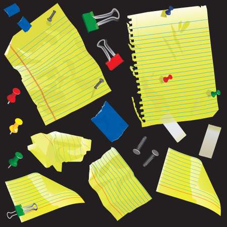 old notebook: Crumpled yellow legal paper, spiral note book paper and index cards with push pins, nails, tape and clips