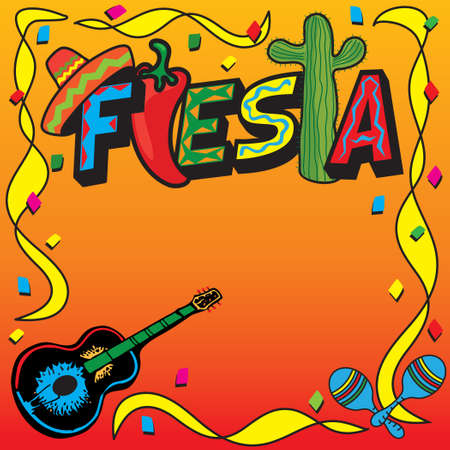 Mexican Fiesta Party Invitation with room for your type Vector