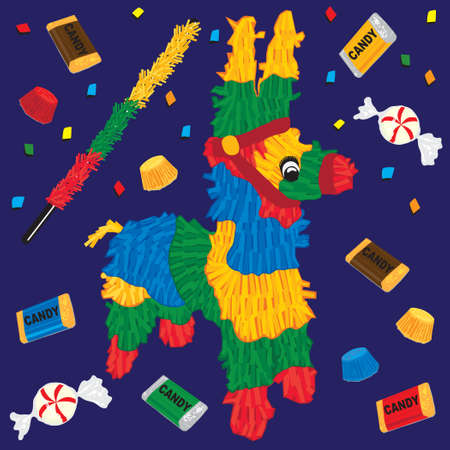 mexico culture: Cute Party Pinata with candy and confetti.  Illustration