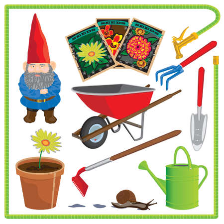 packets: Cute garden elements with water hose frame.