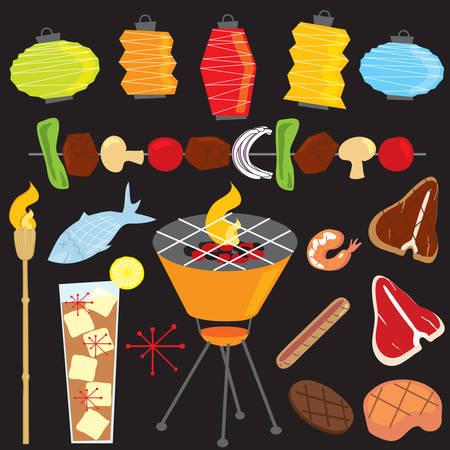 Retro Barbecue Party Abend Standard-Bild - 6815791