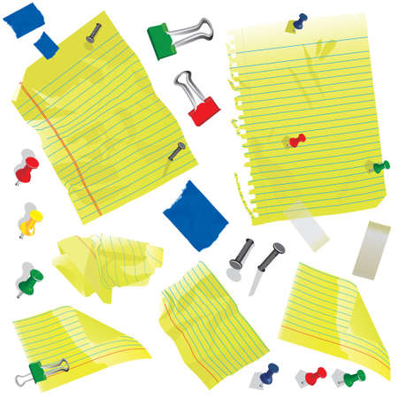 Crumbled Yellow note cards and paper with push pins, clips and tape. Vector