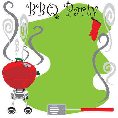 Cute BBQ Party Invitation with smoking hot grill Vector